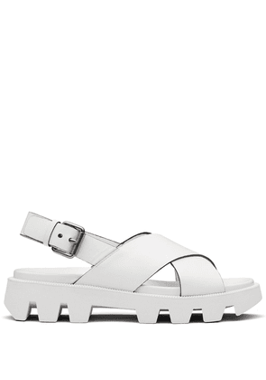 Prada crossover strap sandals - White