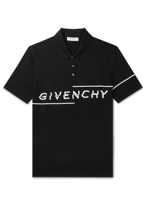 Givenchy - Slim-Fit Logo-Embroidered Cotton-Piqué Polo Shirt - Men - Black