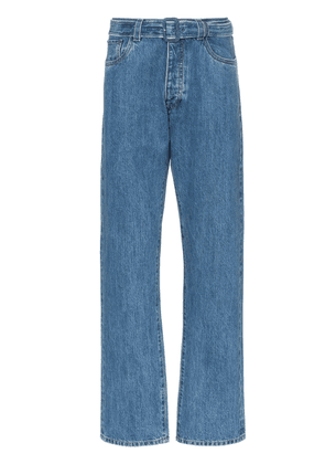 Prada straight leg belted denim jeans - Blue