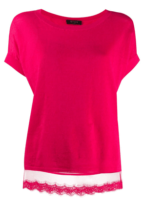 Twin-Set lace hem shortsleeved knitted top - PINK