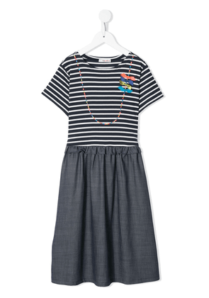 Familiar striped short-sleeve dress - Blue