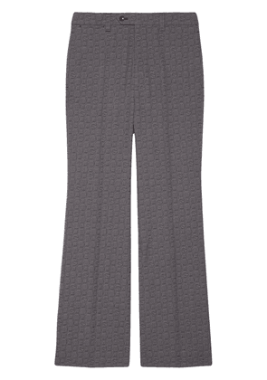 Gucci logo jacquard flared tailored trousers - Grey