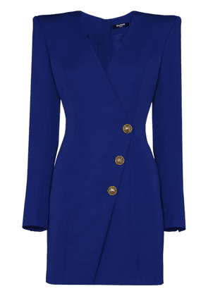 Balmain single-breasted wrap blazer dress - Blue