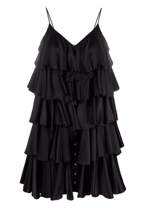 Balmain ruffle layered strappy dress - Black