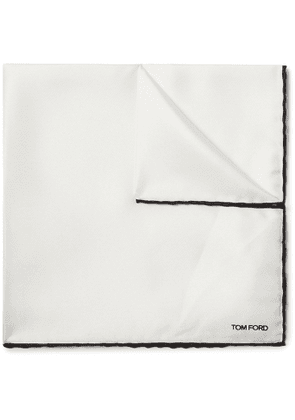 TOM FORD - Contrast-Tipped Silk-Twill Pocket Square - Men - White