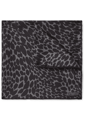 TOM FORD - Leopard-Print Silk-Twill Pocket Square - Men - Gray