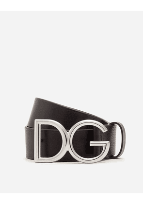 Dolce & Gabbana Accessories - TUMBLED LEATHER BELT WITH DG LOGO BLACK