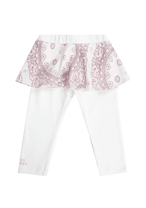 Versace Young Patterned Flounce Leggings Unisex White