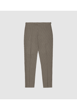 Reiss Godalming - Puppytooth Slim Fit Trousers in Chocolate, Mens, Size 28
