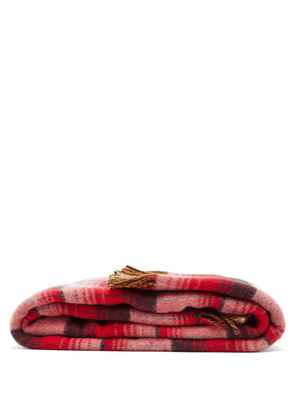 Gucci - GG-intarsia Checked Wool Blanket - Red Multi