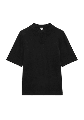 Cotton Linen Polo Shirt - Black