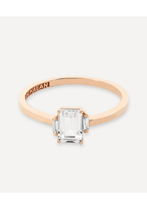 Rose Gold Emerald Cut White Topaz and Diamond Ring