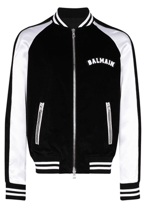 Balmain logo-appliqued bomber jacket - Black