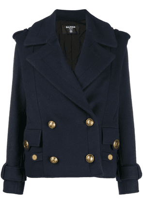 Balmain double-breasted military jacket - Blue