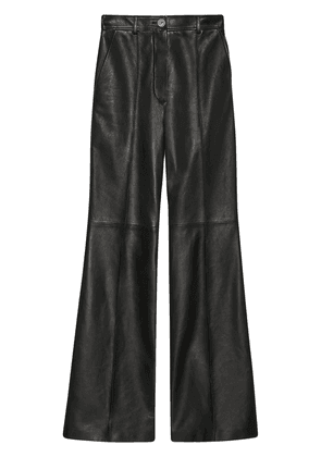 Gucci leather flared trousers - Black