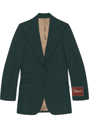 Gucci label single-breasted blazer - Green