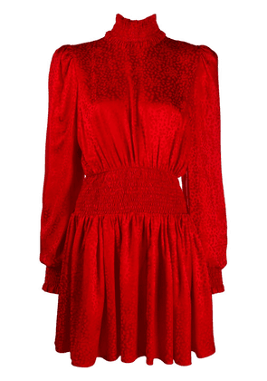 Balmain jacquard leopard short dress - Red