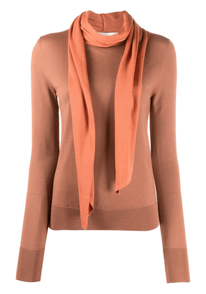 Victoria Beckham scarf-effect slim sweater - ORANGE