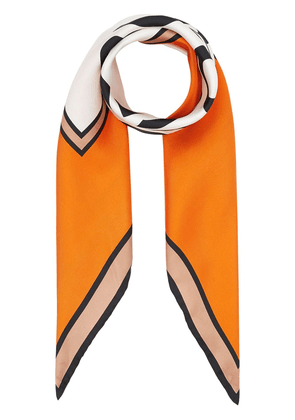Burberry logo print silk square scarf - ORANGE