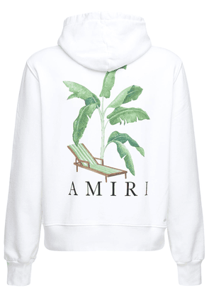 Banana Tree Print Cotton Jersey Hoodie