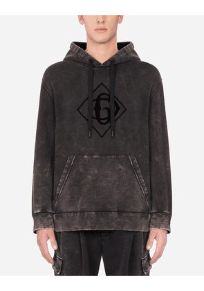 Dolce & Gabbana Sweatshirts - FADED COTTON HOODIE WITH PRINT AND PATCH MULTICOLOR