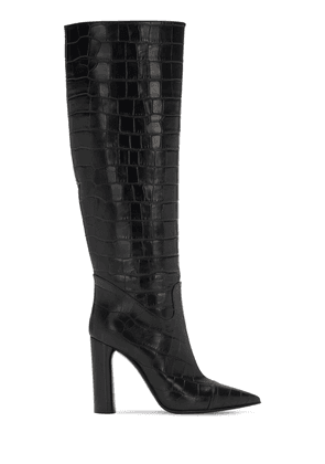 100mm Donna Croc Embossed Leather Boots