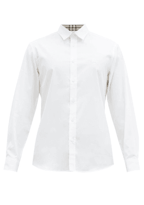 Burberry - Serjeants Logo-embroidered Cotton-blend Shirt - Mens - White