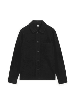 Wool Cotton Overshirt - Black