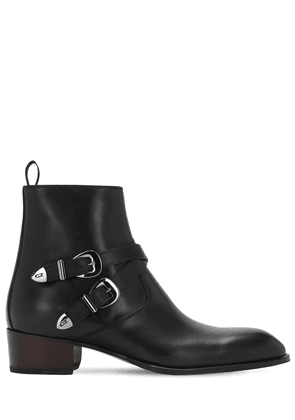 40mm Leather Zip Ankle Boots