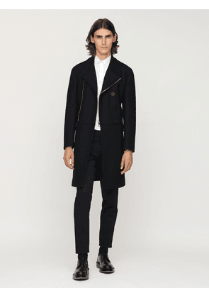 Wool Blend Zip Coat W/ Leather Patches