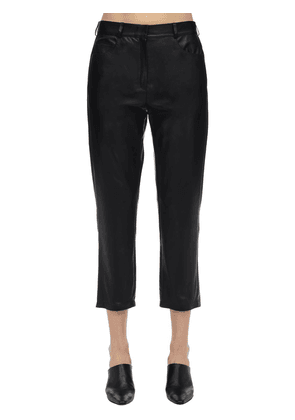 Mid Waist Cropped Leather Pants