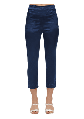 Cropped Satin Slim Pants