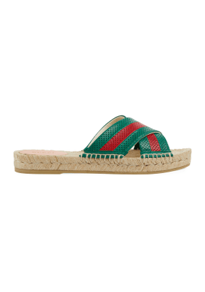 Women's leather slide sandal with Web