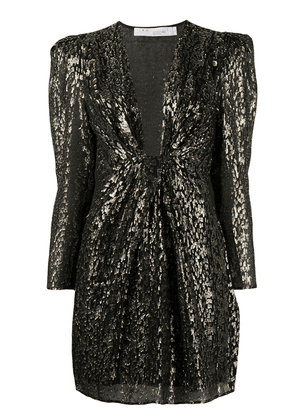 IRO V-neck leopard print dress - Black