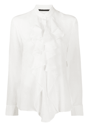 Haider Ackermann silk ruffle long-sleeve blouse - White