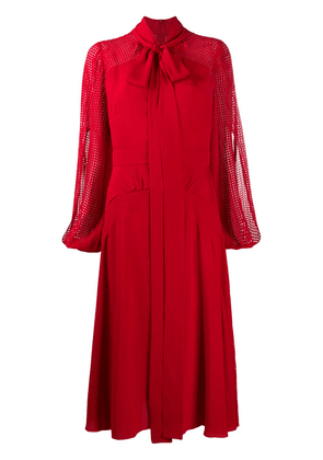 Nº21 pussy-bow mid-length dress - Red