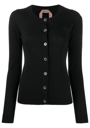 Nº21 logo-embroidered round-neck cardigan - Black