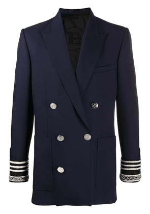 Balmain striped cuff blazer - Blue