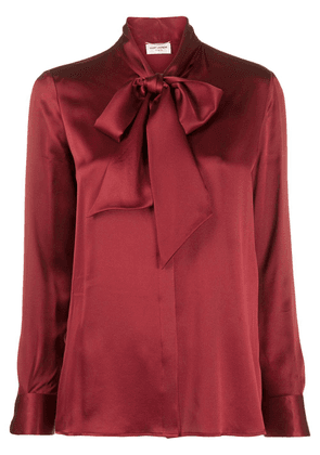 Saint Laurent long-sleeve pussy-bow blouse - Red