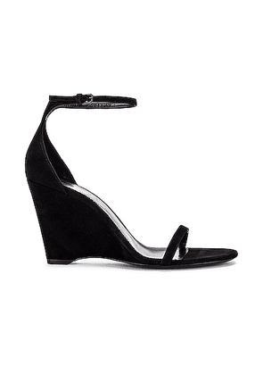 Saint Laurent Lila Wedge Sandals in Black - Black. Size 38 (also in 41).