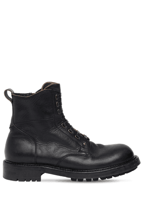 Matte Leather Zip-up Combat Boots