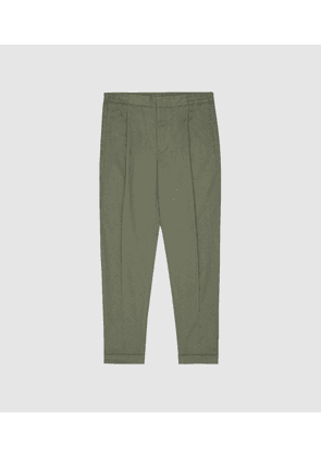 Reiss Ramsay - Pleat Front Tapered Trousers in Khaki, Mens, Size 28