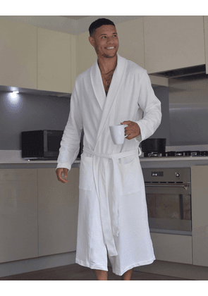 ASOS DESIGN lounge dressing gown in white-Grey