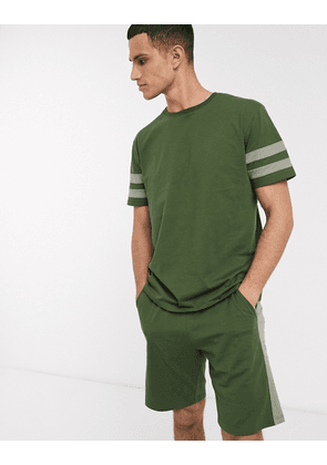ASOS DESIGN pyjama short and tshirt set in khaki with collegiate stripe and pintuck shorts-Green