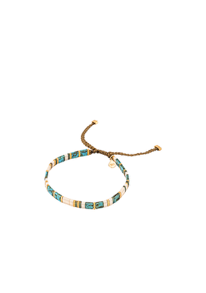 TAI Jewelry Handmade Beaded Bracelet with Gold Accents in Blue.