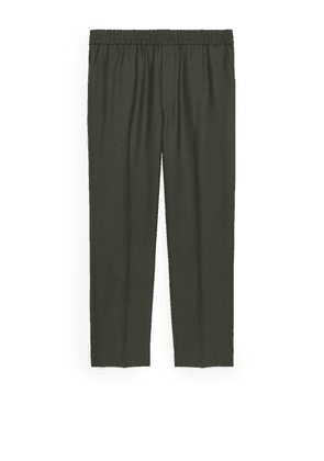 Tapered Wool-Blend Trousers - Green
