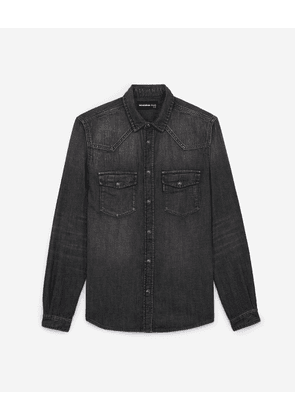 The Kooples - Grey denim shirt with rips - MEN