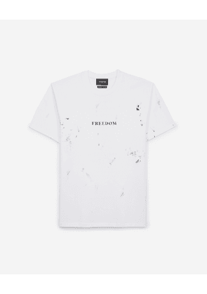 The Kooples - Cotton printed white T-shirt w/Freedom text  - MEN