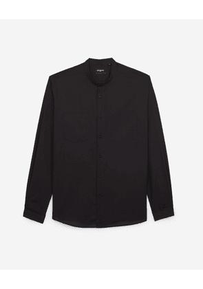 The Kooples - Black cotton shirt with Henley neck & pockets - MEN