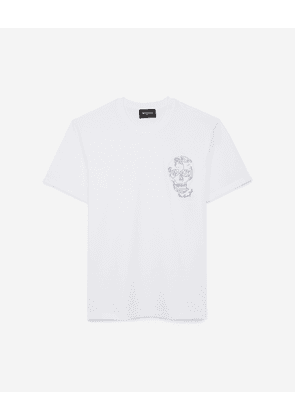 The Kooples - White cotton T-shirt with embroidered skull - MEN